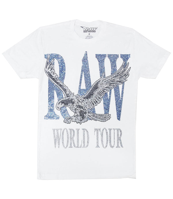 RAW World Tour Light Blue Bling Crew Neck - White