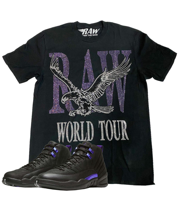 RAW World Tour Purple Bling Crew Neck - Black
