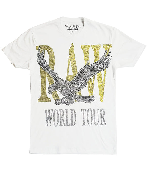 RAW World Tour Yellow Bling Crew Neck - White