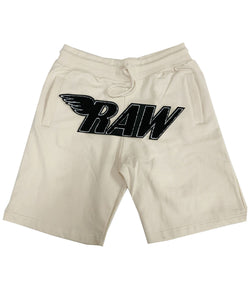 RAW Black Chenille Cotton Shorts