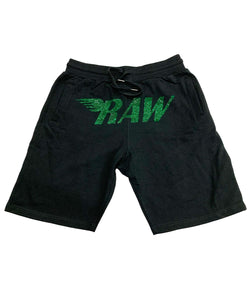 RAW Emerald Bling Cotton Shorts