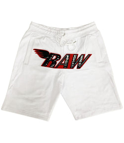 RAW PU Red Chenille Cotton Shorts