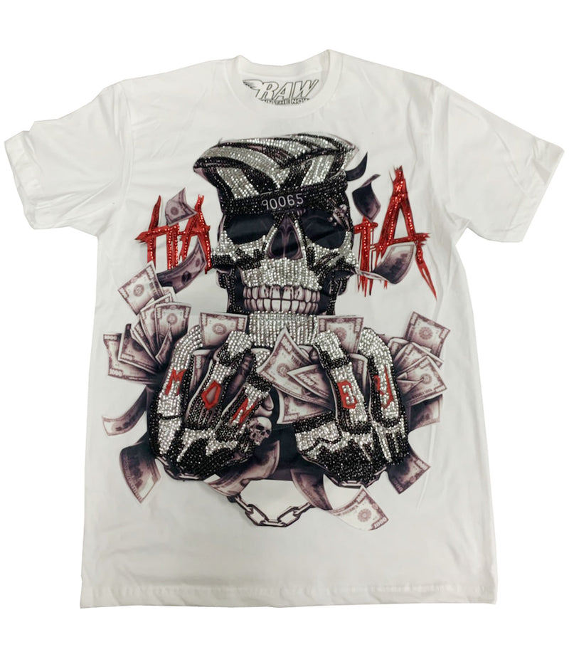 HATA Skull Sequin Hand Made Crew Neck