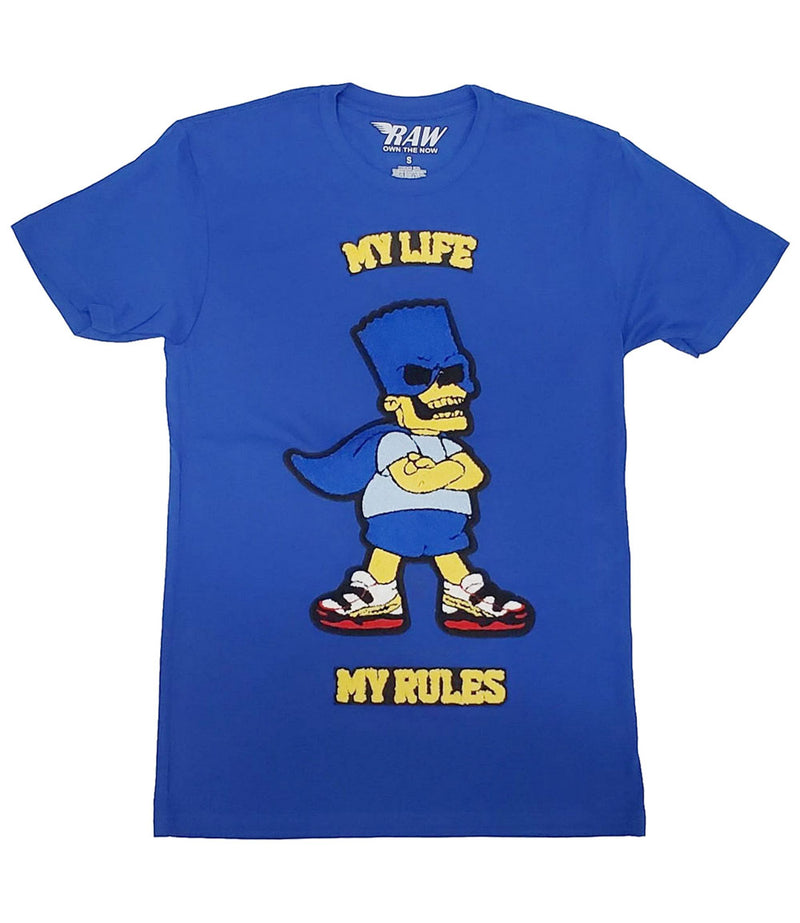 My Life My Rules Chenille Crew Neck - Royal