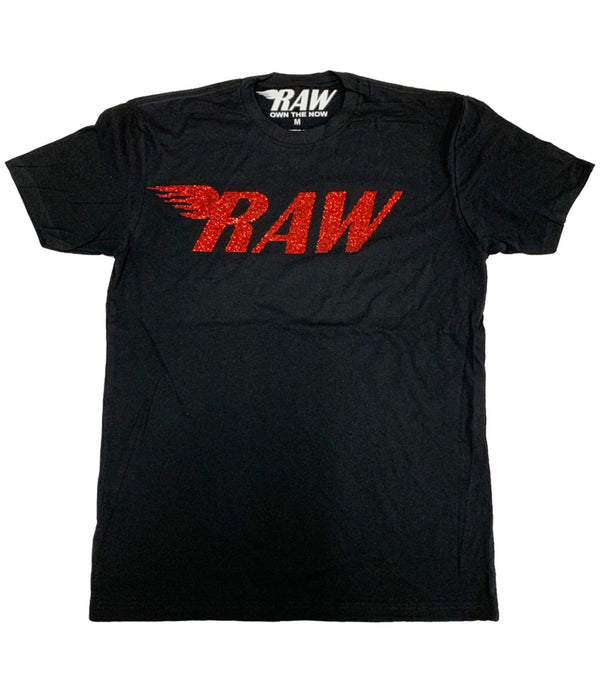 RAW Red Bling Crew Neck - Black