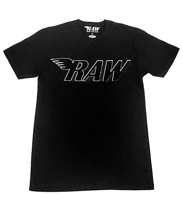 RAW Black Chenille Crew Neck - Black
