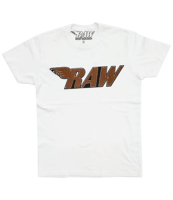 RAW Brown Chenille Crew Neck - White