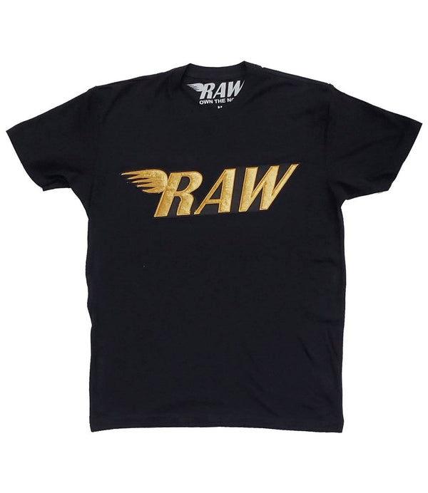 RAW Gold Velvet Crew Neck - Black