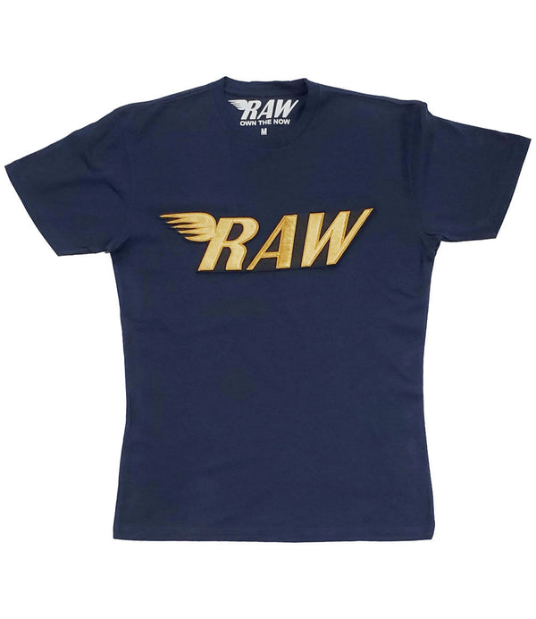 RAW Gold Velvet Crew Neck - Midnight Navy