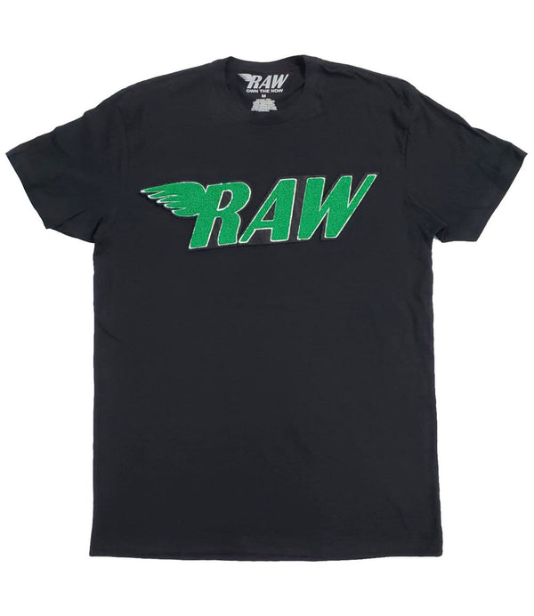 RAW Green Chenille Crew Neck - Black