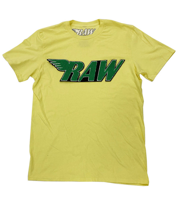 RAW Green Chenille Crew Neck - Yellow