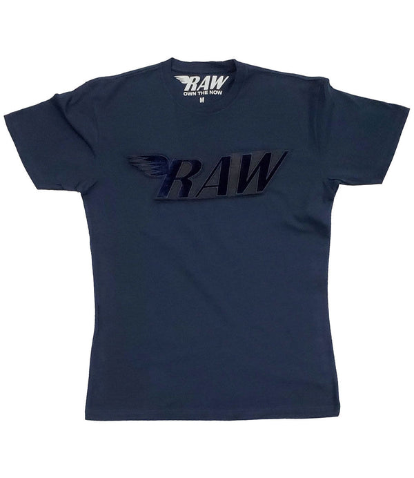 RAW Navy Velvet Crew Neck - Midnight Navy