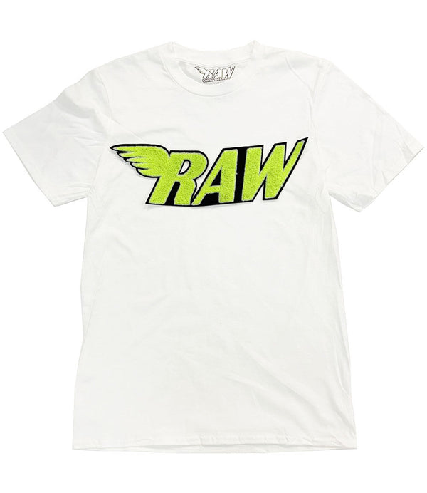 RAW Neon Yellow Chenille Crew Neck - White