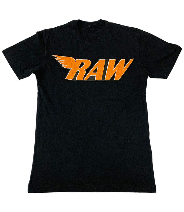 RAW Orange Chenille Crew Neck - Black