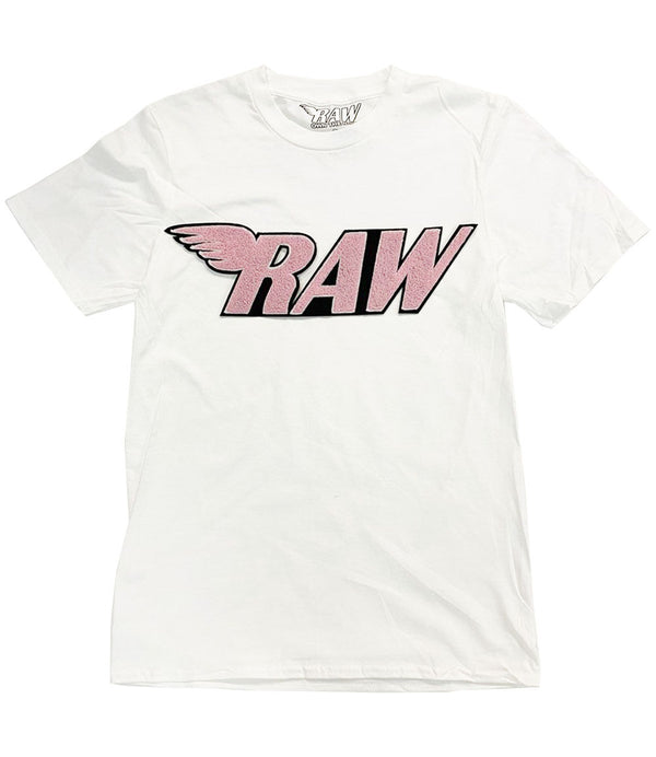 RAW Pink Chenille Crew Neck - White