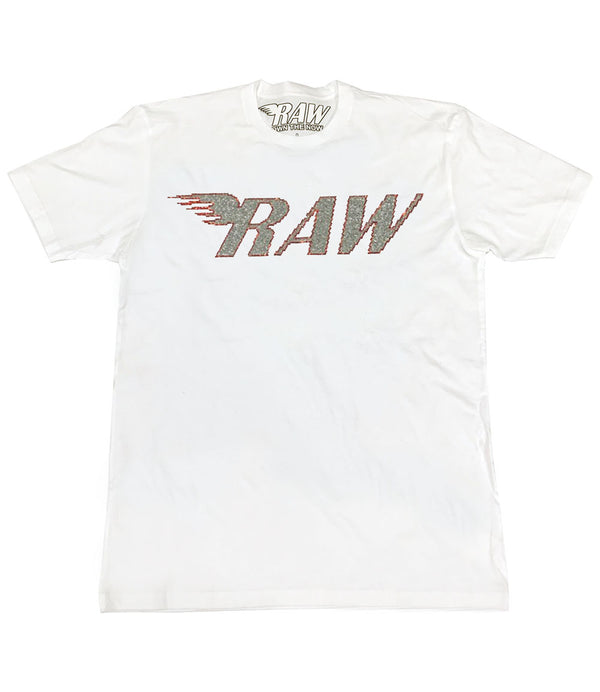 RAW Silver/Red Bling Crew Neck