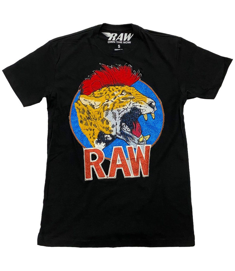 Red Mohawk Tiger Embroidery Patch Crew Neck - Black