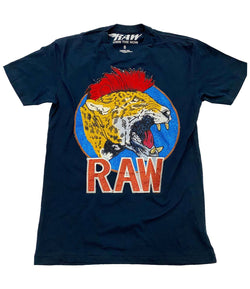 Red Mohawk Tiger Embroidery Patch Crew Neck - Midnight Navy