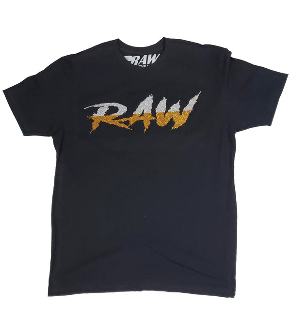 Cursive RAW Ab.Clear/Gold Bling Crew Neck - Black