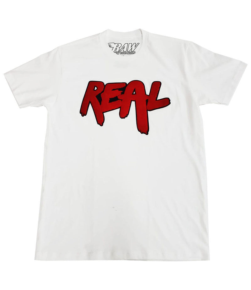 REAL Red Chenille Crew Neck - White