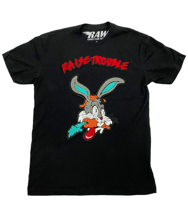 Raise Trouble Bunny Chenille Crew Neck - Black