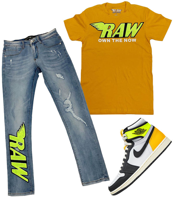 RAW Neon Yellow Chenille Crew Neck and Denim Jeans Set - Antique Gold Tee / Blue Jeans