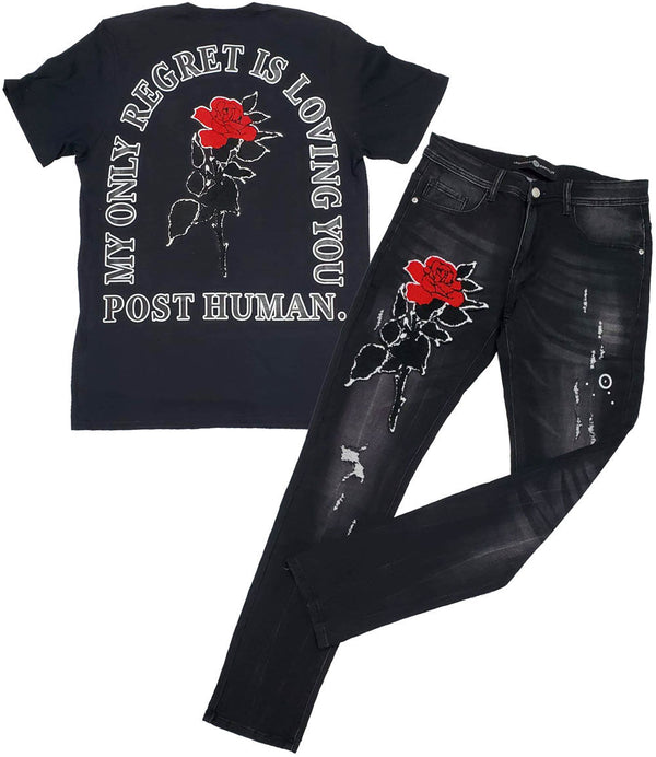Rose Chenille Crew Neck and Denim Jeans - Black Tee / Black Jeans