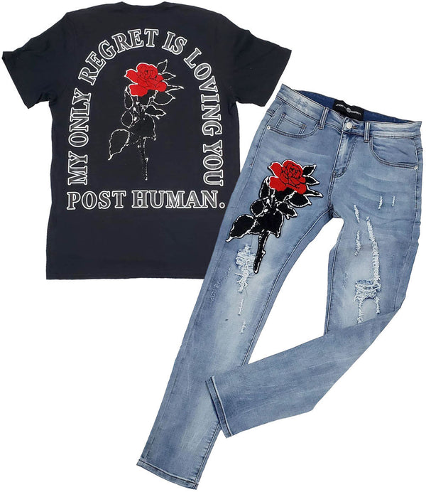 Rose Chenille Crew Neck and Denim Jeans - Black Tee / Blue Jeans