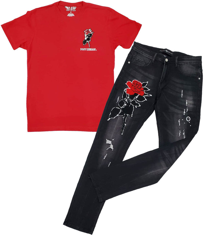 Rose Chenille Crew Neck and Denim Jeans - Red Tee / Black Jeans