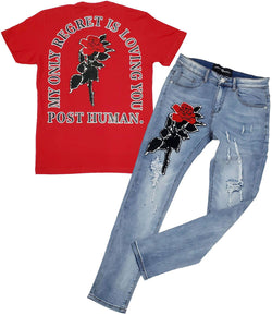 Rose Chenille Crew Neck and Denim Jeans - Red Tee / Blue Jeans