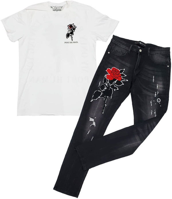 Rose Chenille Crew Neck and Denim Jeans - White Tee / Black Jeans