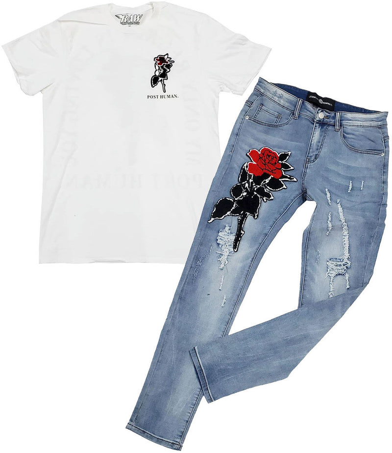 Rose Chenille Crew Neck and Denim Jeans - White Tee / Blue Jeans