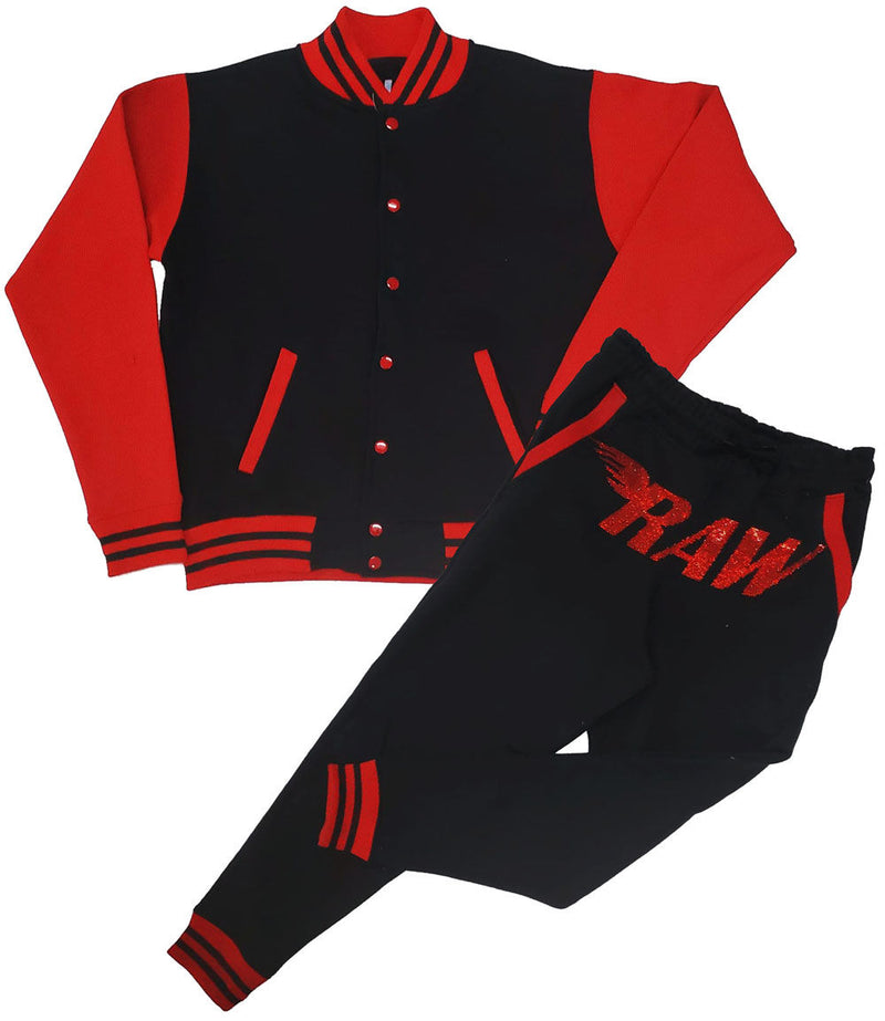 RAW World Tour Red Bling Varsity Set - Black/Red