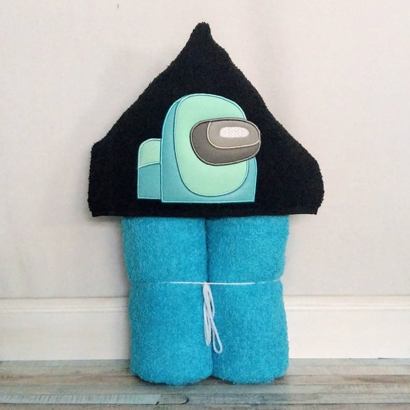 Cyan Crewmate Hooded Bath Towel