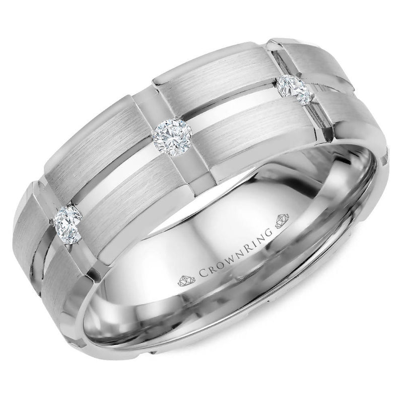8mm Polished Bevel Edge Wedding Band Featuring 3 Round Flush Set Diamonds and Brushed Center