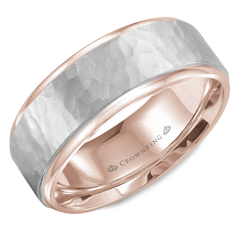 8mm Two-Toned Polished Drop Edge Wedding Band with Satin Hammer Center