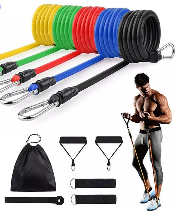 15Pcs / Set Fitness Resistance Tube Band Yoga Fitnessstudio Stretch Pull Rope Übungstraining Expander