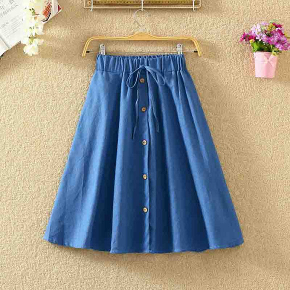 Vintage Retro High Waist Pleated Denim Skirt