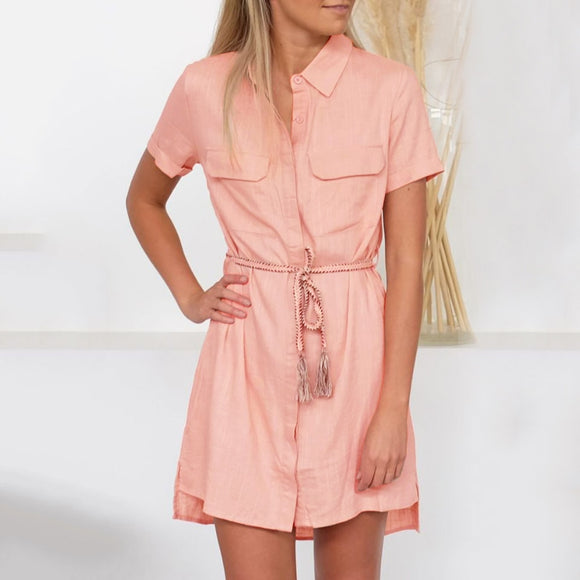 Button Up Loose Pockets Mini dress