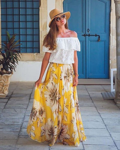 Floral Print High Waist Long Pleated Skirt