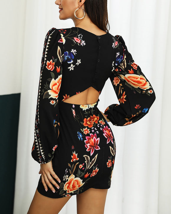 Tukshen Cutout Floral Dress
