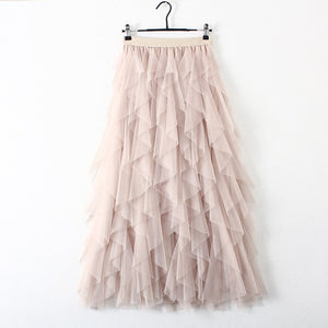High Waist Pleated Long Maxi Skirt