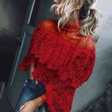 Dramatic  Flare Sleeve Printed Point Blouse