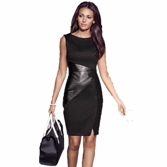 Elegant Splice Black Dress