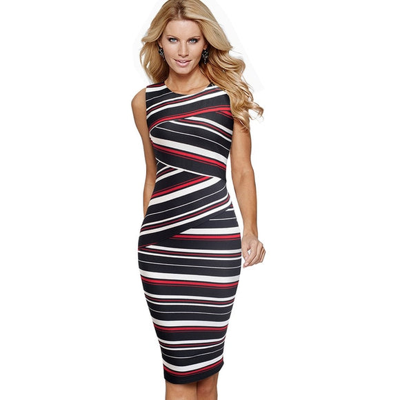 Vintage Stripes Printed Wear to Work Dress