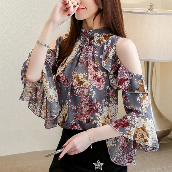 women tops Ruffles Stand Butterfly Sleeve blouse