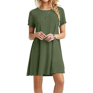 Women Midi Swing T-Shirt Dress