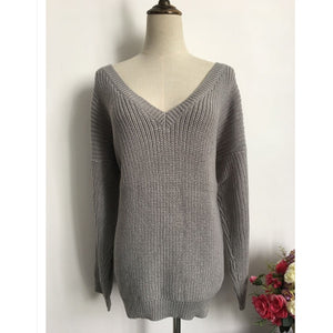 Fashionable Backless V-neck Sweater  Pullover