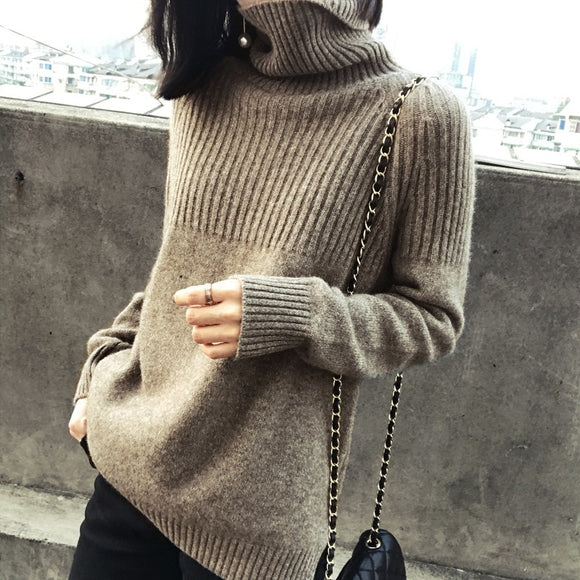 Long Sleeve Loose Solid Thicked Winter Ladies Sweater Women