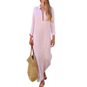 V-neck Boho Linen Beach  Maxi Dress